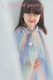 $enCountryForm.capitalKeyWord Australia - Wholesale Glittle Poncho for Girls Beach Sequins Love Star Pom pom Gauze Thin Shawl Fairy Cloak for Holiday Birthday 1-10T RY002