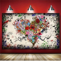 Abstract Designs Pictures Australia - Graffiti Design Abstract Wall Art Heart Flowers Canvas Prints Painting Pictures Decor For Living Room Unframed gift Rectangle