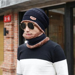 skull sports set NZ - 2Pcs Winter Hat&Scarf knitted beanies skull Riding sets outdoor sport Men Warm Fleece Camping Hat Beanie Baggy Wool Cap Scarf