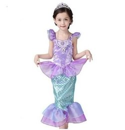 pink mermaid costume Australia - Children Kids Dress Long Sleeve little mermaid Princess Sequins Fancy Dress Costume Kids Girls Halloween Xmas Party free shipping