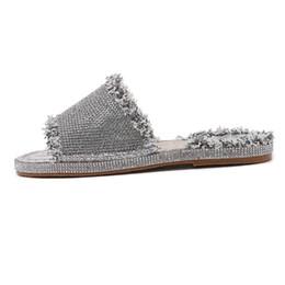$enCountryForm.capitalKeyWord UK - Bling Crystal Slippers Platform Slides Straw Sliver Shoes Woman Summer Woman Creepers Slip On Tassel Flats XWT1376