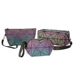 Man Made Diamonds Australia - New Luminous Geometry Ladies Multifunctional Cosmetic Bag Flash Diamond Leather Organizer Travel Make Up Bags Drop Shipping 2019 #285040