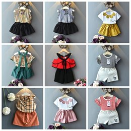Suit SkirtS deSignS online shopping - baby girls design outfits flower chiffon skirts set kids summer fashion clothing set children boutiques princess clothes suit