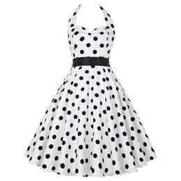 e2d9630a6213 Sexy Halter Party Dress Polka Dot Hepburn Vintage 50s 60s Pin Up Rockabilly  Dresses Robe Plus Size Elegant Midi Dress