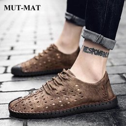 design genuine leather NZ - Genuine Leather Casual Men's shoes 2019 Hollow Design Men's Shoes Non-slip Peas Handmade Large Size Male