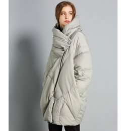 womens large winter down coats NZ - New Winter Women 90% White Duck Down Jacket Oversize Long Down Coat Large Real Raccoon Womens Plus Sized Rouched Tops