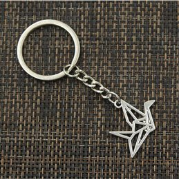Discount silver origami crane - free shipping Fashion 20pcs lot Key Ring Keychain Jewelry Silver Plated origami paper cranes Charms Key Accessories