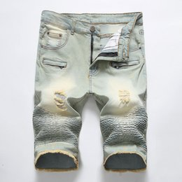 $enCountryForm.capitalKeyWord Australia - Brand New Designer Wrinkled Jeans Men Summer Style Patchwork Mens Short Pants Denim Pants Casual Mens Short Plus Size Free freight
