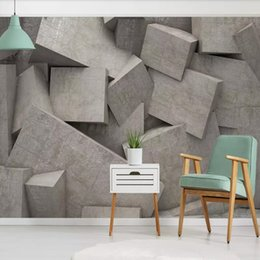 3d Art Paper Australia - 3d geometric space abstract art personality cement wallpaper mural studio background wall paper wall covering arkadi