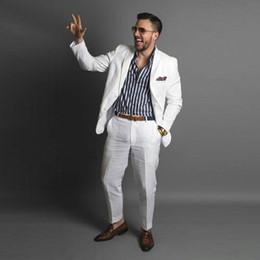 $enCountryForm.capitalKeyWord NZ - White Linen Men Tuxedos Wedding Suits for Man Notched Lapel 2Piece(Coat+Pants) Slim Fit Costume Homme Prom Party Best Man Blazers Jacket