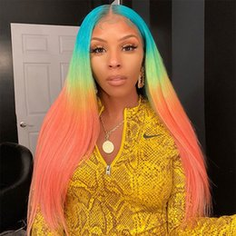 rainbow human hair Canada - Rainbow Straight Colored Lace Front Wigs Human Hair Ombre Blue Pink 613 Blonde Lace Front Human Hair Wigs Transparent