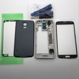 $enCountryForm.capitalKeyWord Australia - Full Housing S5 Middle Frame Battery Cover Back Cover Front Outer Glass Lens Replacement For Samsung Galaxy S5 G900 I9600