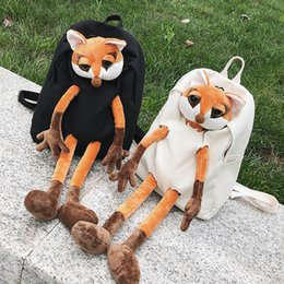 Corduroy baCkpaCks wholesale online shopping - Girl Backpack Schoolbag Big Eye Plush Toys Canvas Dog Fox Elephant D Corduroy Backpack Female Backpack For Girls School