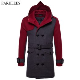 Wholesale winter men wool pea coat resale online - British Style Hooded Wool Pea Coat Men Brand New Men s Double Breasted Long Trench Coats Winter Fashion Overcoat With Belt