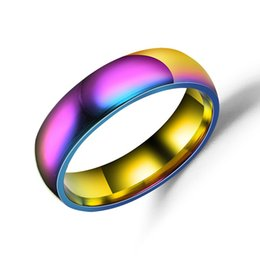 $enCountryForm.capitalKeyWord Australia - Stainless Steel Colorful Rainbow Ring Simple Band Ring Finger Rings band Cuffs for Women Men Fashion Jewelry