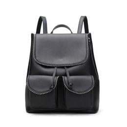 Lace Backpacks Australia - Fashion Rivet Women Backpack For Girls Teenagers Pu Leather Female Schoolbag Travel Bags Big Capacity Backpacks Black Red C3597