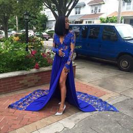 $enCountryForm.capitalKeyWord Australia - Royal Blue Lace Appliques Prom Dress High Leg Split Unique Formal Party Dress for Black Women Homecoming Celebrity Maxi Gowns