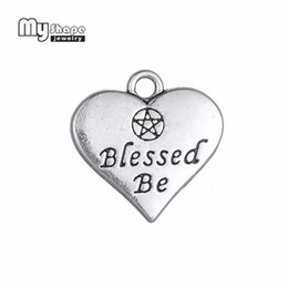 $enCountryForm.capitalKeyWord Australia - My Shape 20pcs Heart Charm Double side Letter Blessed Be Wicca Pentacle Pentagram Pendant for Jewelry Making Antique Silver Tone
