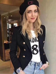 Long Sleeve Polo Fashion Australia - Deluxe Winter Women Polo Jacket Blazer USA Fashion Ladies Casual Coat Single Beasted Cotton Slim Long Sleeve Solid Jackets Black