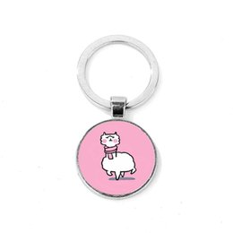 Photos Cartoons NZ - Lovely Alpaca Keychain Sheep Animal Cartoon Key Ring Holder Women Bag Charms Photo Glass Cabochon Handmade Jewelry