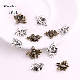 DULCE BELL 150 unids 16 * 21mm Aleación de Zinc de dos colores Abeja encantos Lovely Bee Honey bee Charm Colgante Fit Diy Joyería Que Hace 3C448 en venta