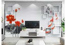 chinese hand paintings Australia - 3D Custom wall papers home decor photo wallpaper Fish fun new Chinese style hand-painted lotus carp 3D stereo TV background wall