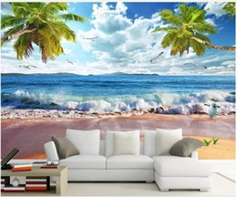 CoConut deCor online shopping - WDBH d wallpaper custom photo Beach spray Hawaiian landscape coconut palm background home decor d wall murals wallpaper for walls d