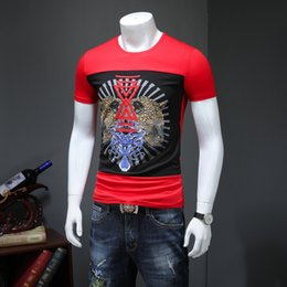Discount new t shirt trends - 2019 new summer clothes men's trend personality slim embroidery men's short-sleeved t-shirt half-sleeved shirt