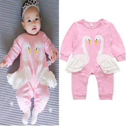 SwanS embroidery online shopping - Baby Girls Romper New Kids Pink Swan Embroidery Print Jumpsuits Spring Autumn Long Sleeveless Rompers Children Climbing Clothes