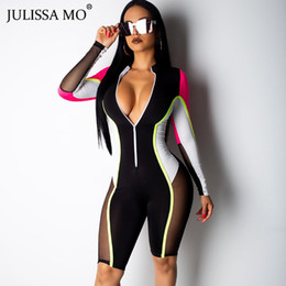 Sexy Casual Women Jumpsuit Australia - JULISSA MO Mesh Patchwork Sexy Playsuit Women Tracksuit Long Sleeve Zipper Jumpsuit Rompers 2019 Spring Casual Skinny Overalls