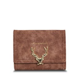 $enCountryForm.capitalKeyWord UK - 2019 Latest Christmas Deer Women Leather Wallet VintageTri-Folds Luxury Cash Purse Girl Small Black Clutch coin purses holders