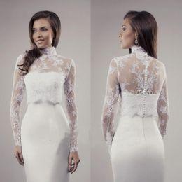$enCountryForm.capitalKeyWord Australia - New High Neck Long Sleeve Lace Bolero Wedding Dress Custom Wedding Shrug Wedding Jacket buttons back Accessories