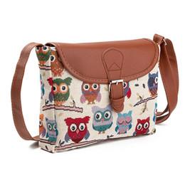 Owl Ladies Handbag Australia - good quality Summer Women Messenger Bags Flap Bag Lady Canvas Cartoon Owl Printed Crossbody Shoulder Bags Small Female Handbags