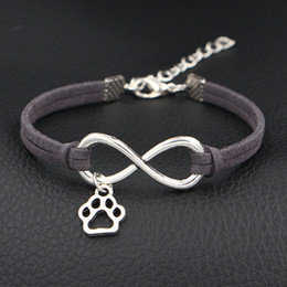 $enCountryForm.capitalKeyWord NZ - New Punk Wedding Bridal Dark Gray Leather Suede Cuff Wrapped Bracelet Bangles Infinity Pets Dog Paw Sign Pendant Charm Jewelry For Women Men