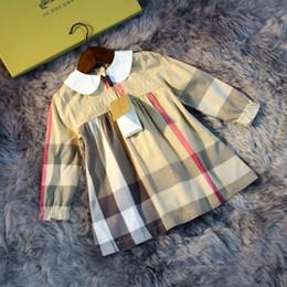 New dress british online shopping - Girls dress kids designer clothes autumn new fashion British style cotton plaid dresses classic doll collar design party skirt