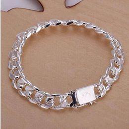 $enCountryForm.capitalKeyWord Australia - New high -quality WOMEN MEN noble 925 solid silver PLATED bracelets fashion jewelry gifts Mens 10MM square nice jewelry Bracelet