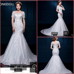 hot sexy white dresses Canada - Free shipping 2019 mermaid white lace cheap wedding dress off the shoulder sexy beaded appliques romantic wedding gowns hot sale