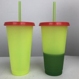 $enCountryForm.capitalKeyWord Australia - 24oz Plastic Color Changing Cup Magic Drinking Tumbler with lid and straw Reusable Candy color cold drinks cup free shipping