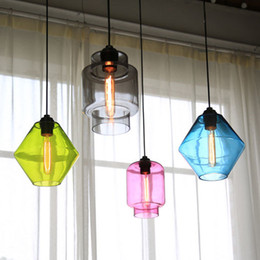 $enCountryForm.capitalKeyWord Australia - modern blown glass chandelier bar cafe Dining Room Clothing Shop cylindrical led color Glass Hanging Lights