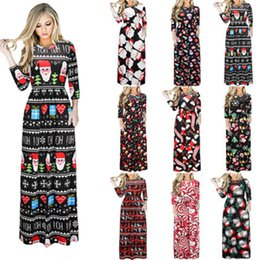 Wholesale womens dresses flare for sale – plus size Christmas Dress Long Sleeve Santa Claus Gift Halloween print Flared Dress for Women Flared Dress for Women girls swing Casual Womens Apparel