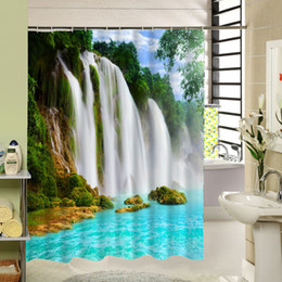 Scenic Curtains Australia - 2016 Real 3d Waterfall Scenic Waterproof Home Decoration Shower Curtain Beach Bathroom Products Polyester Bath Cortina De Bano C18112201