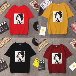 2191931cf35992 Women Girls Summer Tops Oversized Loose Pullover Tops Hip Hop Lady  Portraits Printed Ulzzang Half Sleeve T-Shirt Round