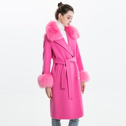 Wholesale white belted cashmere coat for sale - Group buy Women Cashmere Coat with Real Fur Collar Woolen Jacket with Belt Winter Autumn Slim Lady Long Overcoat Women Wool Coat