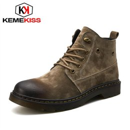 $enCountryForm.capitalKeyWord Australia - KemeKiss Men Real Leather Ankle Boots Lace Up Work Shoes Men British Style Flats Short Boots Classic Mens Footwear Size 39-44