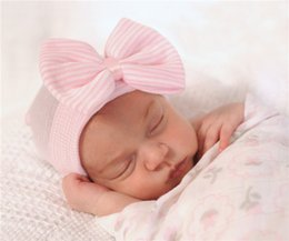Crochets For Hair Australia - Baby Crochet Bow Hats Cute Baby Kids Soft Knitting Hedging Caps with Big Bows Warm Tire Cotton Cap For Newborn hair accessories FJ218