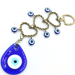 Eye Shaped Pendants Australia - Heart Shape Blue Evil Eye Pendant Home Wall Hanging&Car Hang Amulet Glass Evil Eye Lucky Charm Macrame Wall Hanging Nazar Amulet Jewelry