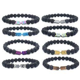 volcanic lava bracelet 2019 - Volcanic Lava Stone Diffuser Essential Oil Balance Bracelets Bangle Yoga Cure Yoga Beads Arrow Bracelet For Unisex Jewer