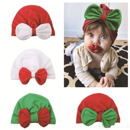 Fallen Hats Australia - 2018 Christmas baby hat Accessories Ins Infants Cute Big Bow Contrast Muslim Caps Maternity 2018 Fall winter 4 Colors Cheap price Wholesale