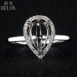 14k Diamond Cluster Ring Australia - HELON 5x8mm Pear cut Semi Mount Ring Solid 14K White Gold SI H Natural Diamonds Engagement Wedding Ring For Women Trendy Jewelry