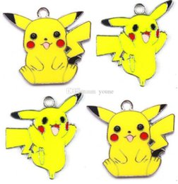 Pikachu Charm Australia - 50pcs Alloy Anime Pikachu Keychain Chain Necklace Pendants DIY Earrings Charms Children Girl Boy Gifts Women Accessories